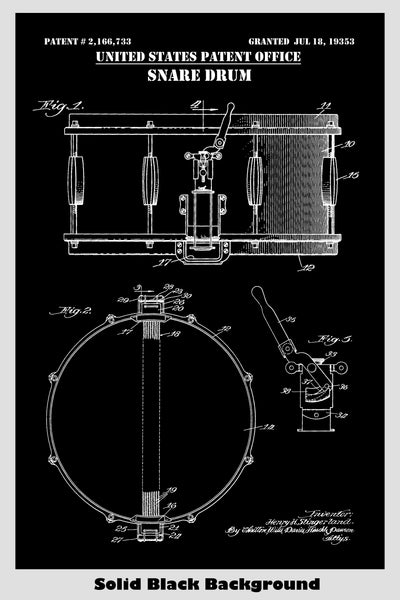 Classic Snare Drum Patent Print Art Poster