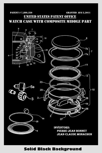 Watch Case Exploded Diagram Patent Print Art Poster