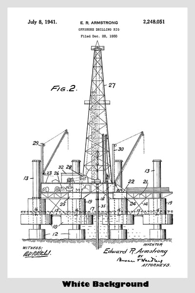 Offshore Oil Drilling Rig Patent Print Art Poster