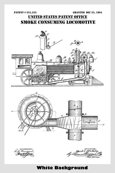 Vintage Coal Fired Steam Train Locomotive Patent Print Art Poster