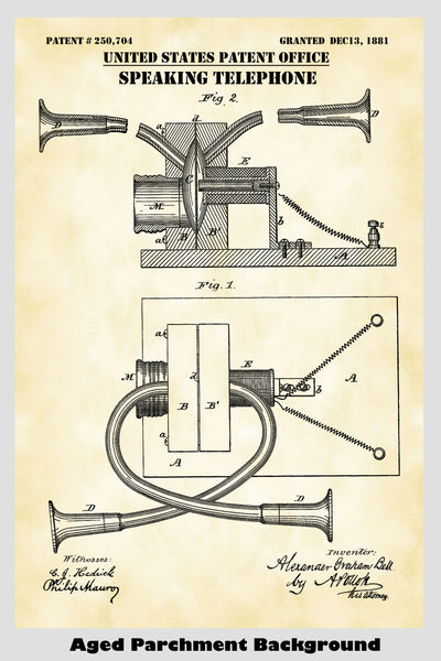 Alexander Graham Bell Speaking Telephone Patent Print Art Poster
