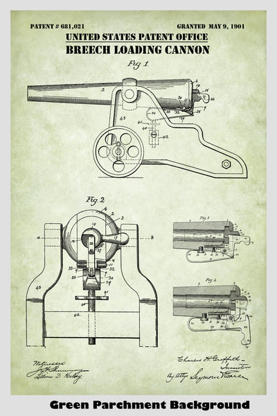 Breech Loading Cannon by Winchester Repeating Arms Patent Print Art Poster