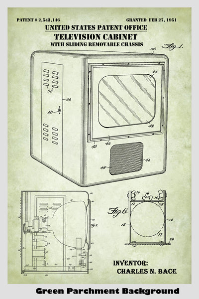 Vintage Tube Television With Cabinet Patent Print Art Poster