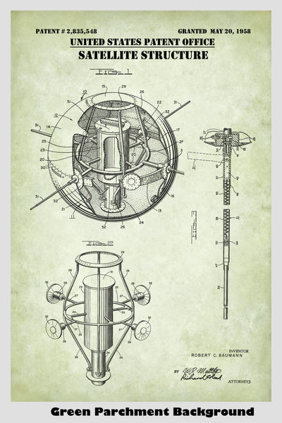Early Near Earth Satellite Design Patent Print Art Poster