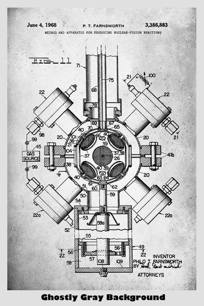 Farnsworth Fusion Reactor Patent Print Art Poster