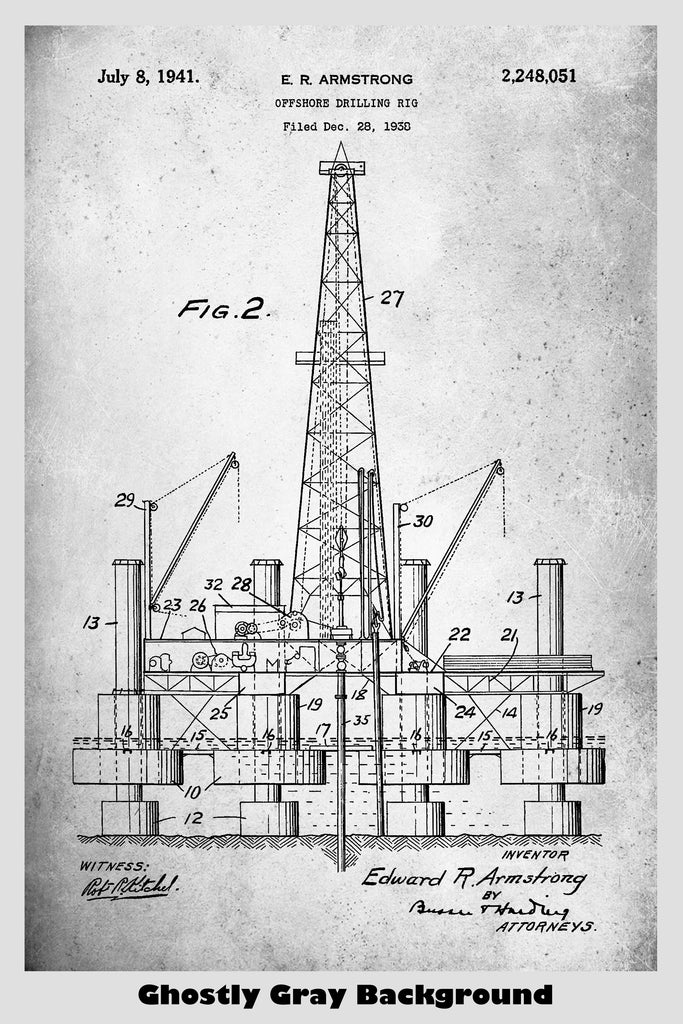 Offshore Oil Drilling Rig Patent Print Art Poster – Patent