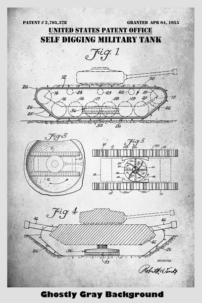 Self Digging Military Tank Patent Print Art Poster