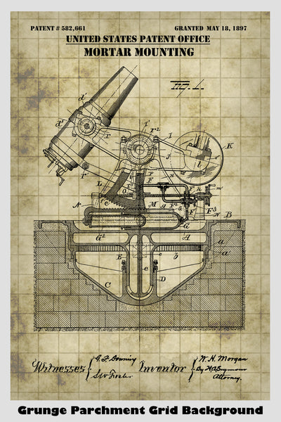 Military Mortar Gun Mouinting Patent Print Art Poster