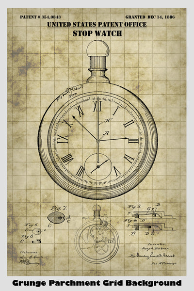 Antique Stopwatch Patent Print Art Poster