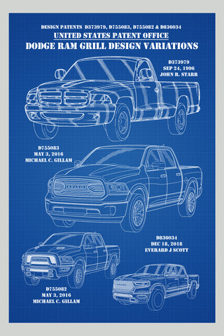 Dodge Ram Truck Front Grill Montage Patent Print Art Poster