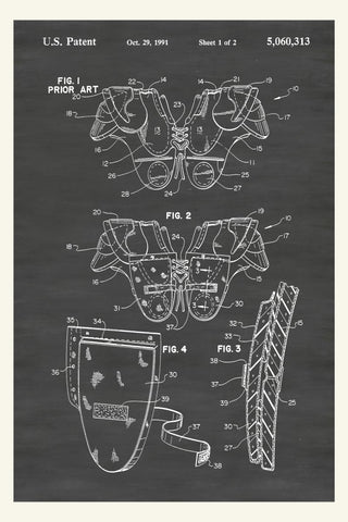 Football Shoulder Pads Patent Print Art Poster