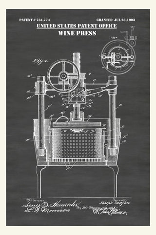 Antique Wine Press Patent Print Art Poster