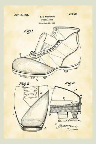 Vintage Football Shoes Patent Print Art Poster