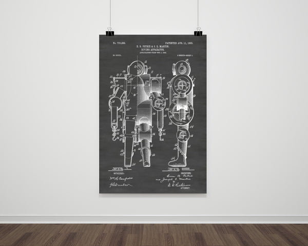 Deep Sea Diving Suit Patent Print Art Poster