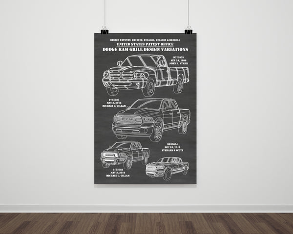 Dodge Ram Front Grill Montage Patent Print Art Poster
