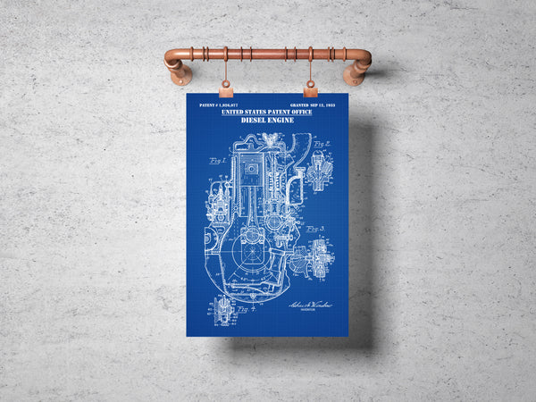 Internal Combusion Four Cylinder Diesel Engine Patent Print Art Poster