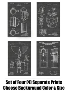 Vintage Beer Patent Print Art Posters Wall Decor Collection