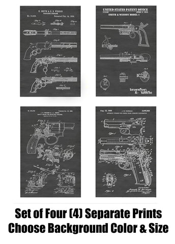 Classic Smith & Wesson Revolver & Pistol Handgun Patent Print Art Posters Wall Decor Collection