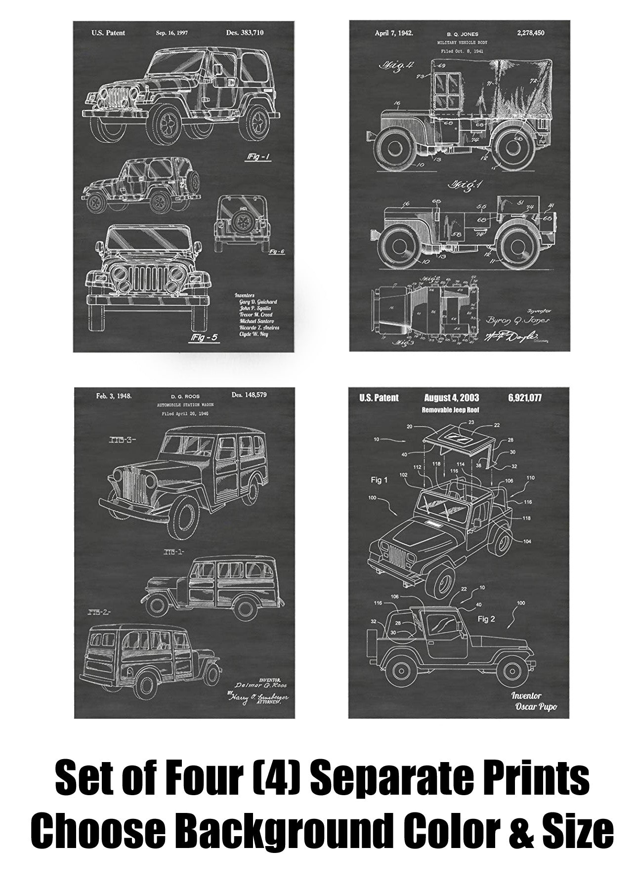 Jeep Wrangler and Jeep Willys Patent Print Art Posters Wall Decor Collection