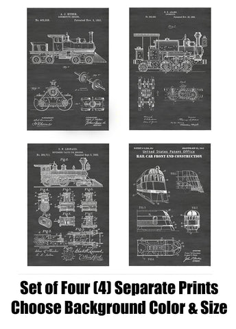 Vintage Locomotive Railroad Car Patent Print Art Posters Wall Decor Collection