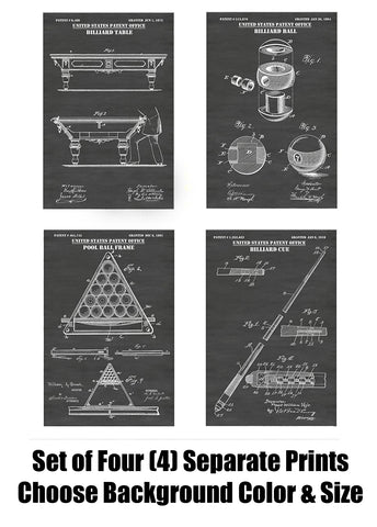 Billiards Game & Pool Hall Patent Print Art Posters Wall Decor Collection