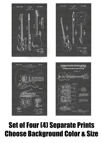 Fender Guitar Patent Print Art Posters Wall Decor Collection