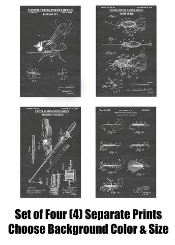 Vintage Fishing and Fly Fishing/Lures / Tackle Patent Print Art Posters Wall Decor Collection
