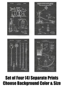 Drummer Drum Kit, Cymbal and Sticks Patent Print Art Posters Wall Decor Collection