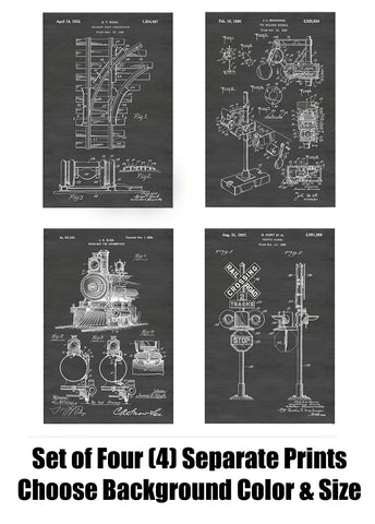 Train and Railway Signs, Tracks and Locomotive Patent Print Art Posters Wall Decor Collection