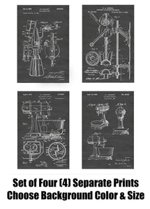 Vintage Kitchen Electric and Hand Mixer Patent Print Art Posters Wall Decor Collection