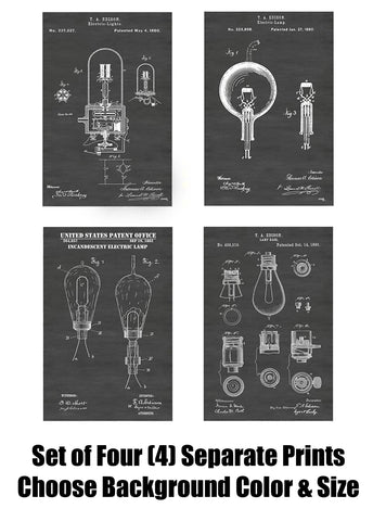 Thomas Edison Light Bulb Inventions Patent Print Art Posters Wall Decor Collection
