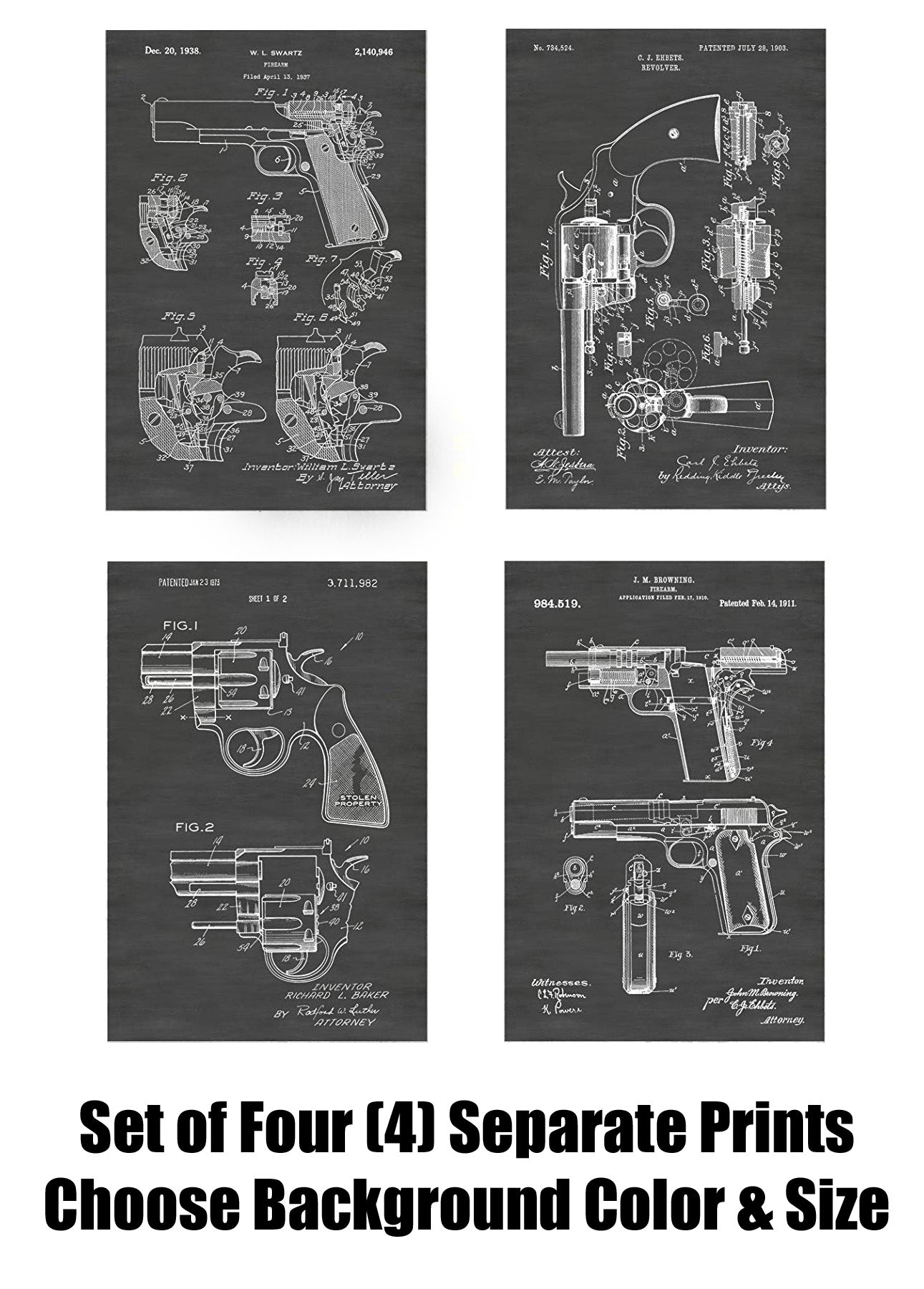 Colt Pistols And Revolvers Patent Print Art Posters Wall Decor Collection