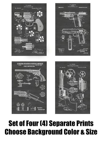 Antique Colt Revolvers and 1911 Pistol Patent Print Art Posters Wall Decor Collection