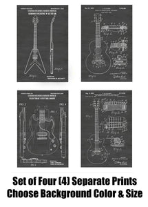 Gibson Guitar Patent Print Art Posters Wall Decor Collection