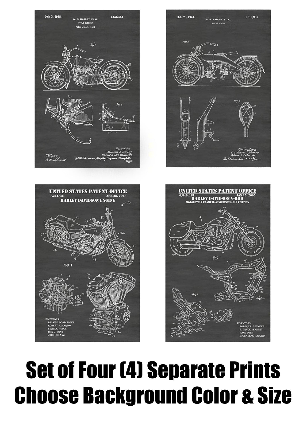 """Classic  Harley Motorcycle Poster 24/""""x 36/"""" HD"""