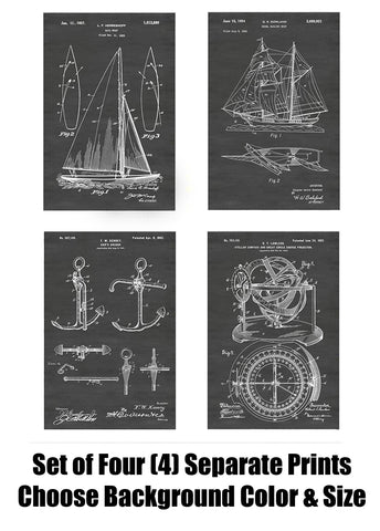 Sailboat and Sailing Patent Print Art Posters Wall Decor Collection