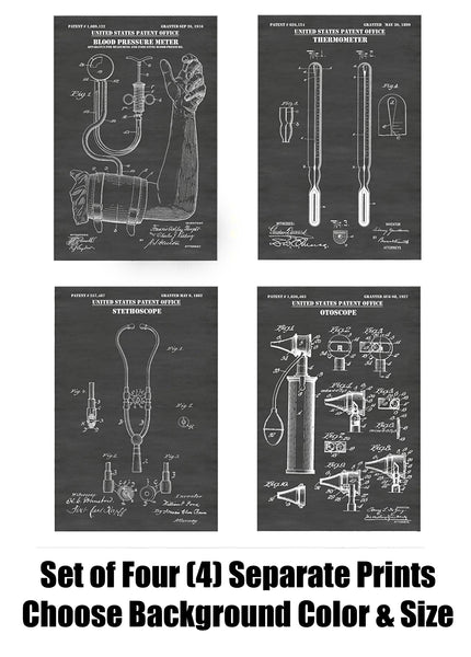Medical Equipment - Thermometer, Otoscope, Blood Pressure Machine, Stethoscope - Patent Print Art Posters Wall Decor Collection
