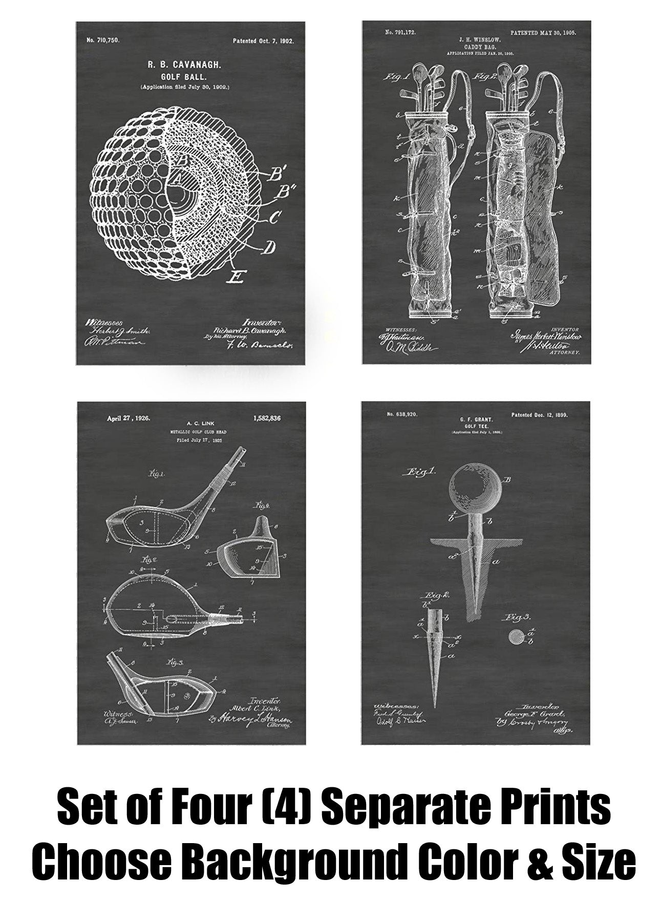 Golf Ball, Driver, Tee and Bag Patent Print Art Posters Wall Decor Collection