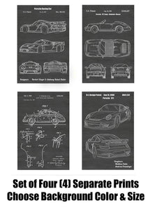 Porsche 356, 911, 911 Targa and Race Car: Patent Print Art Posters Wall Decor Collection