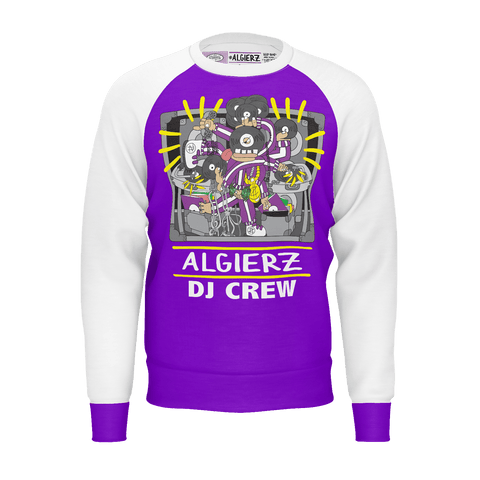 DJ Crew, Longsleeve Raglan, Purple With White