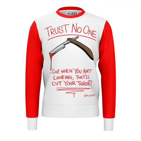 Trust No One, Crewneck Sweatshirt, White with Red