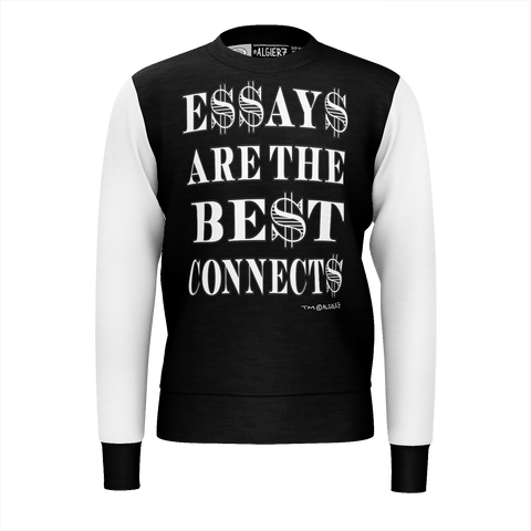 Essays Are The Best Connects, Crewneck Sweatshirt, Black with White