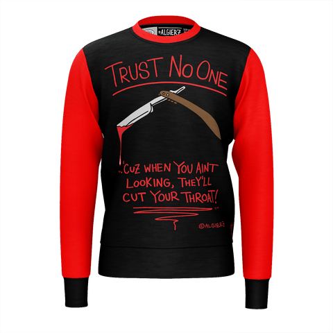 Trust No One, Crewneck Sweatshirt, Black with Red