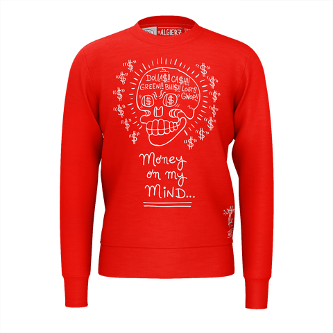 Money on my Mind - Crewneck Sweatshirt, Red