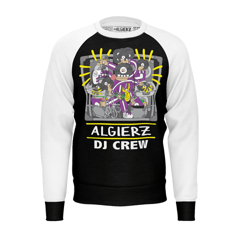 DJ Crew, Longsleeve Raglan, Black With White