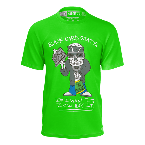 Black Card Status, T-shirt, Lime Green