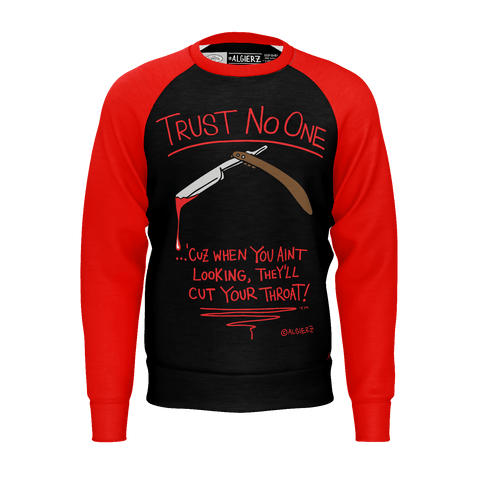 Trust No One, Long Sleeve Raglan, Black With Red