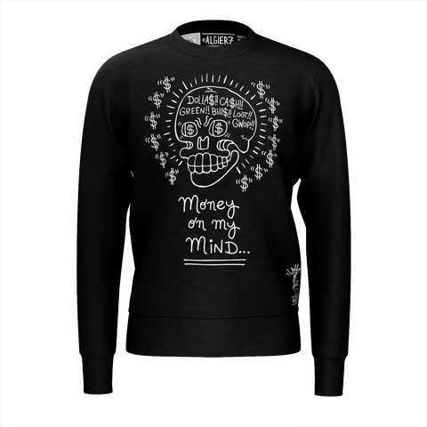 Money on my Mind - Crewneck Sweatshirt, Black