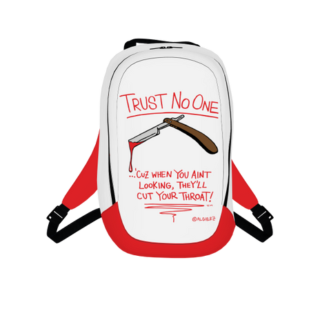 Trust No One, Laptop Backpack, White