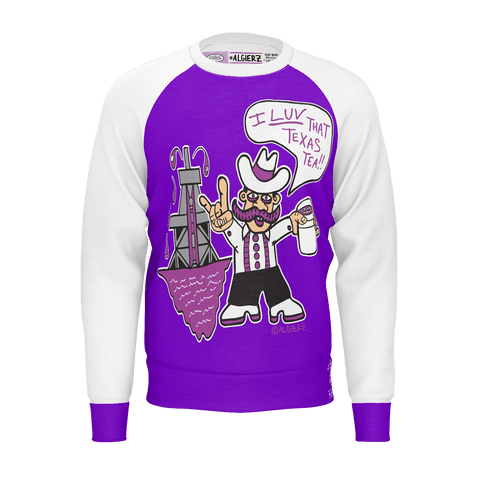 I love That Texas Tea, Longsleeve Raglan, Purple with White